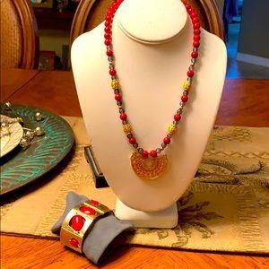 Faux Byzantine necklace and bracelet set